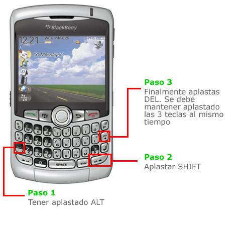 Como reiniciar la Blackberry sin sacar la bateria